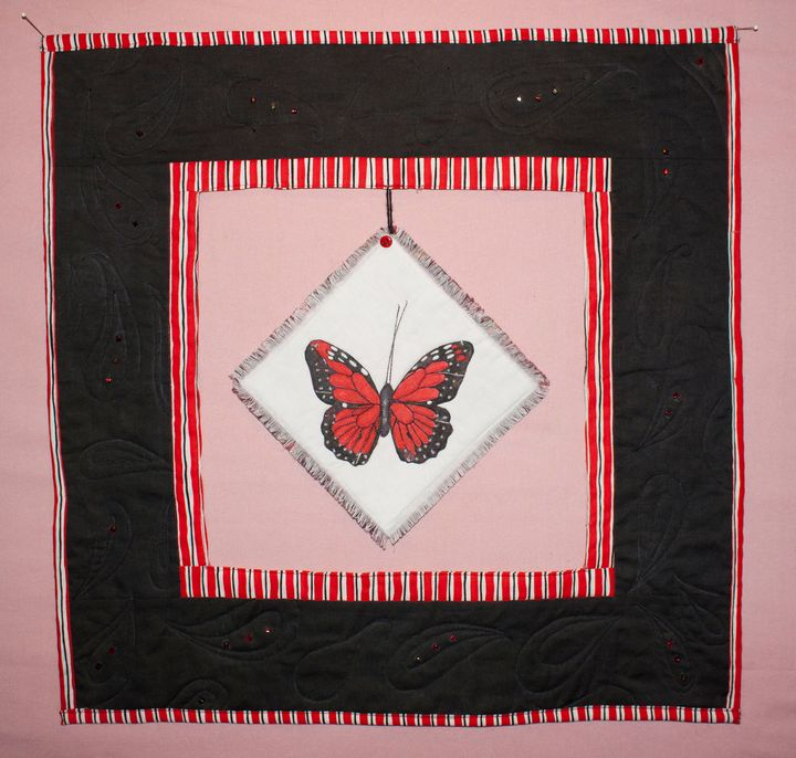 Red Monarch Butterfly Art Quilt - Donna Weber Designs