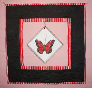 Red Monarch Butterfly Art Quilt