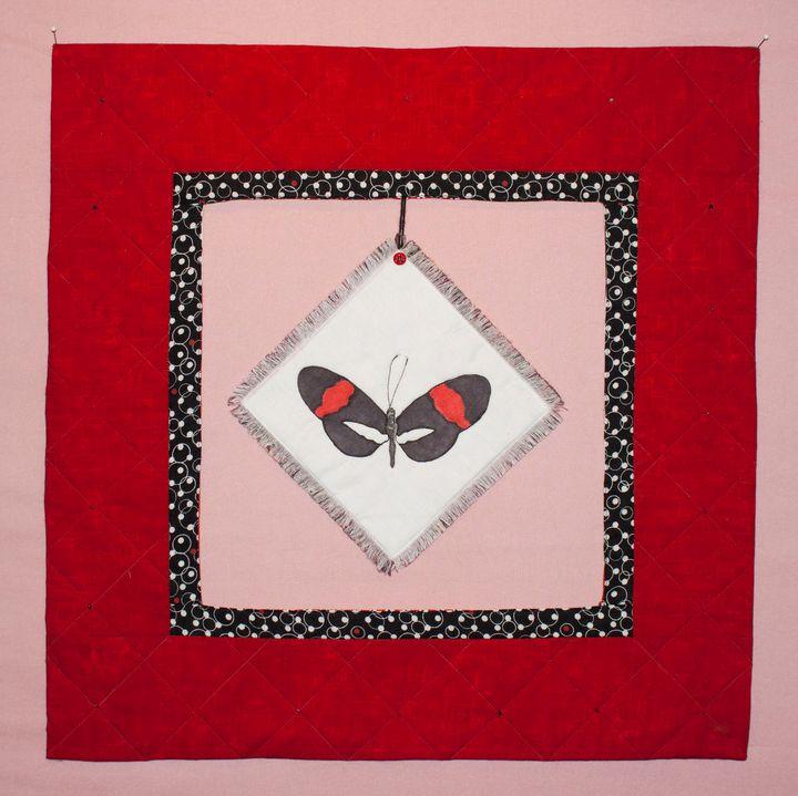 Red Postman Butterfly Art Quilt - Donna Weber Designs
