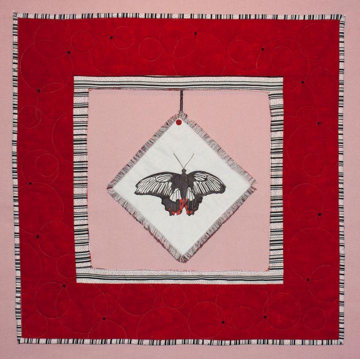 Scarlet Mormon Butterfly Art Quilt - Donna Weber Designs