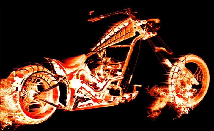 Motorcycle in flames - violeta art