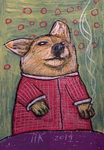 Smoking dog 60