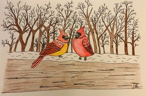 Redbirds in Winter
