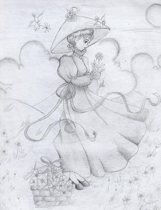 Lady on the flower field - LuneDeThalassah