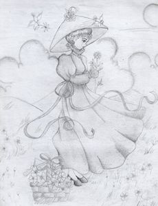 Lady on the flower field