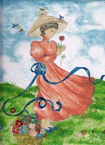 Lady in the flowerfield