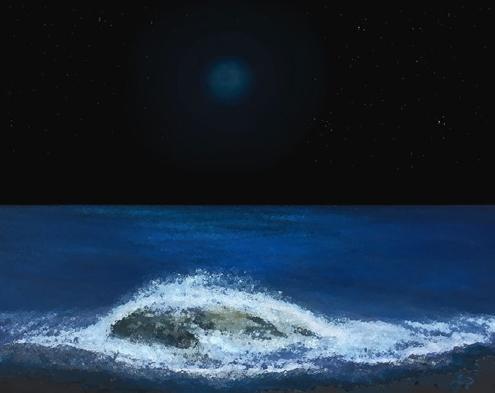 Blue Moon over the Ocean - Sherry Elliott Pope