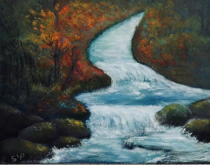 Cascading Stream in Forest - Sherry Elliott Pope