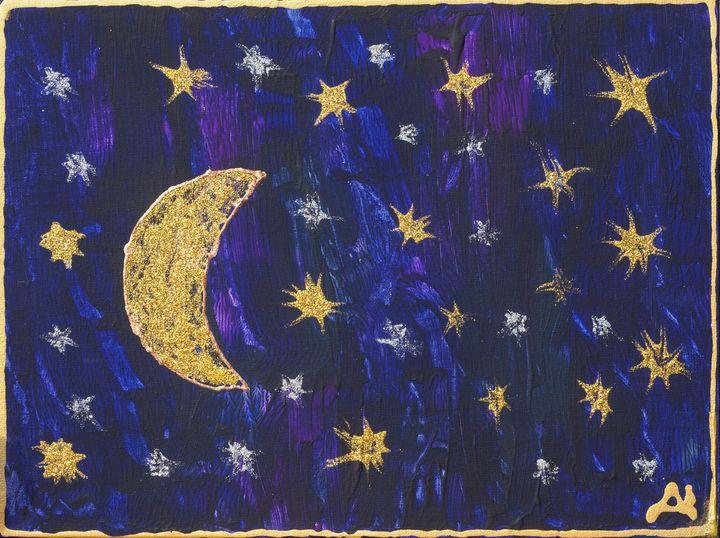 Moon and Stars - Луната и звездите - Stroke Survivor izpitanie-art- Donka