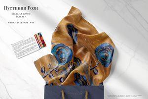 "Art Scarf ""Desert Roses"" - Stroke Survivor izpitanie-art- Donka"