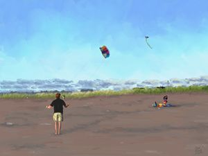Kites on the Beach at Seaside