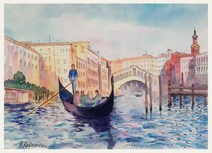 Venice. Grand canal, gondola. A135