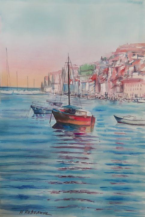 A148. Croatia. Sea, yacht, seashore. - Kavolina