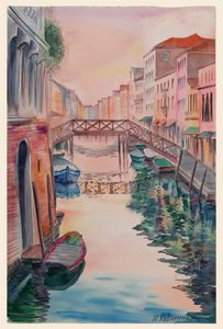 A155. Venice. View of the canal, hou