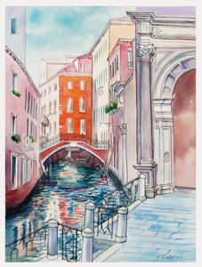 A134. Venice. Canal, portal, bridge.
