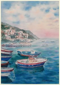 A198. Italy. Yachts in the bay.