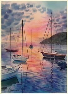 A196. Sea at the sunset. - Kavolina