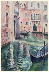 A190. Venice. Canal, houses.