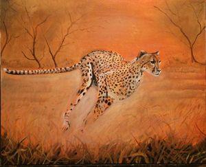 Hunting lcheetahoil painting