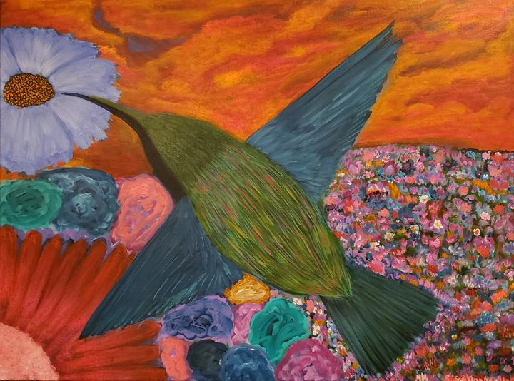 Hummingbird in Floral Paradise - Stacy Ann Originals