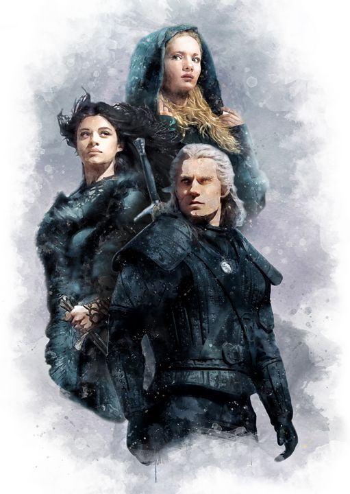 Geralt, Yennefer and princess Ciri - PetsArt