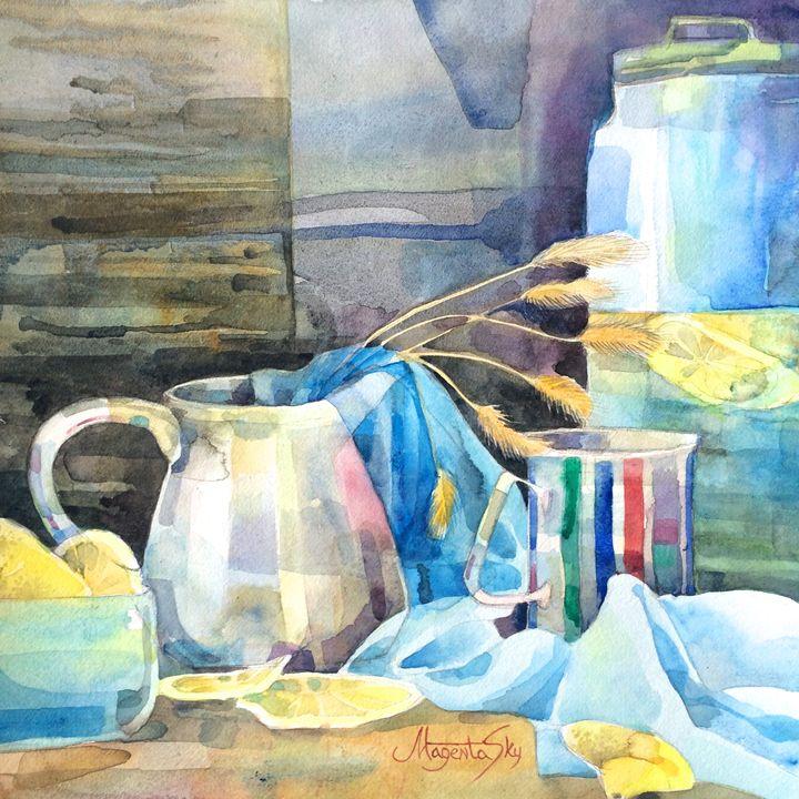 / still life with lemons / 30x30cm - Yuliya Martynova