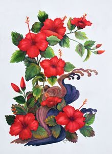 Hibiscus with driftwood
