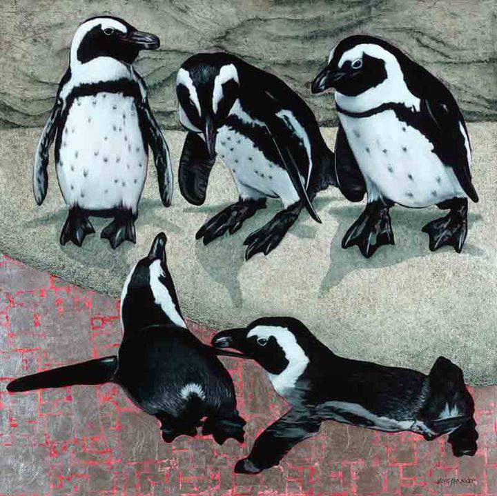 African Penguins - Oil Painting - Marc Alexander