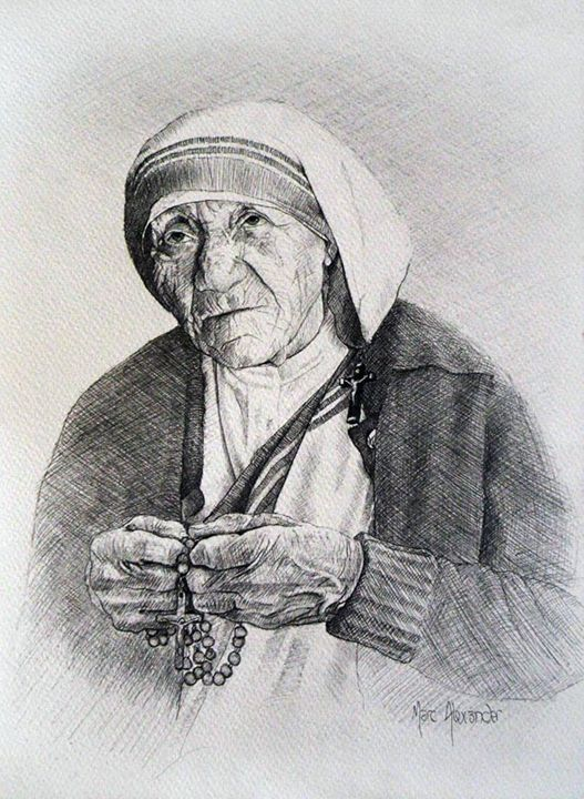 Mother Teresa III Preliminary Sketch - Marc Alexander
