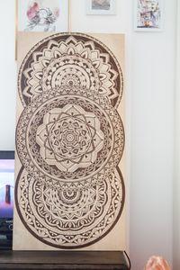 Mandala woodburning art