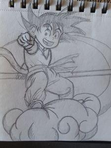 Goku riding nimbus