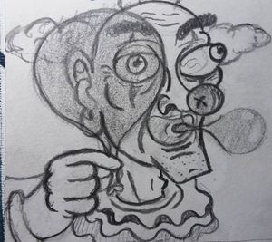 Clown blowing bubbles