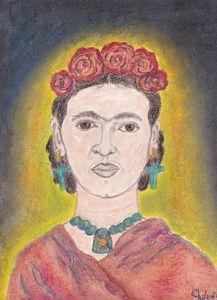 Pastel Painting of Frida Kahlo