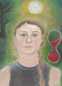 Pastel Painting of Greta Thunberg