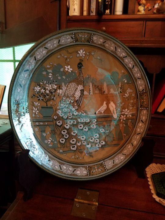Deldare Peacock Platter  w/stand - Posh Peacock Designs