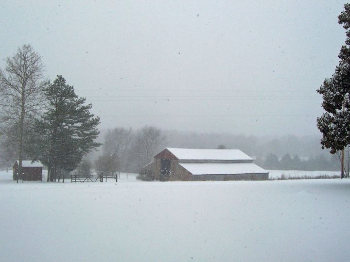 Old Barn--Winter Snow - Starlight