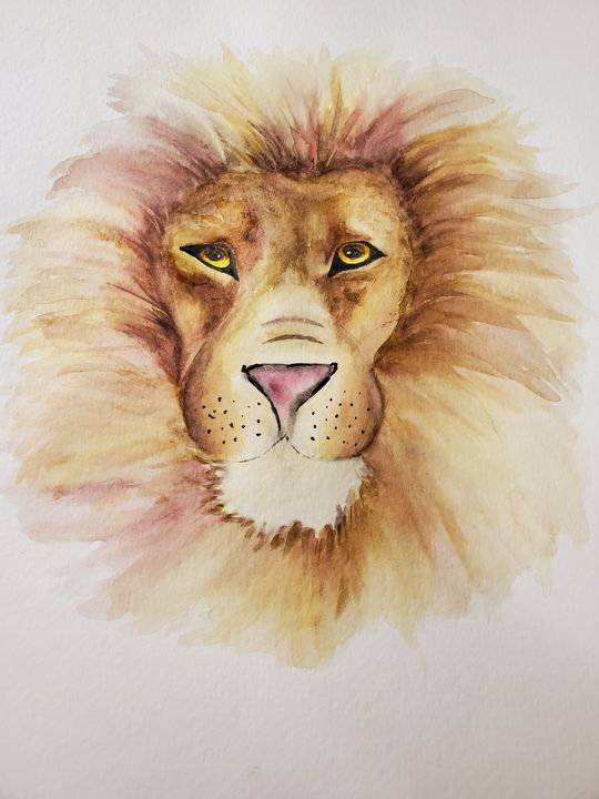 Lion Eyes - Watercolor by Rhonda
