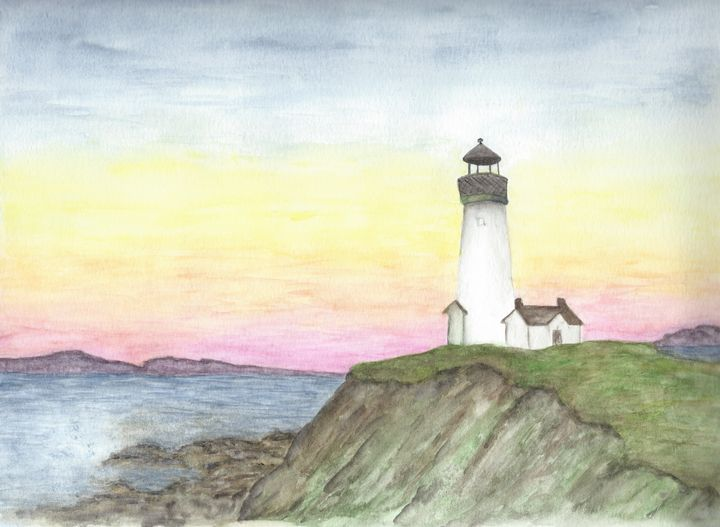 Sunset at the Lighthouse - Watercolor by Rhonda