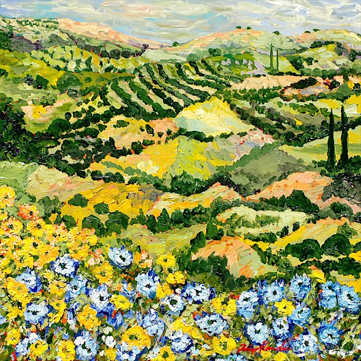 Blue and Yellow - Allan Friedlander's  paintings