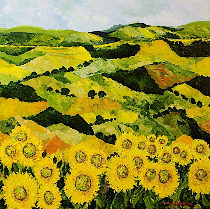Sunflowers and Sunshine - Allan Friedlander's  paintings
