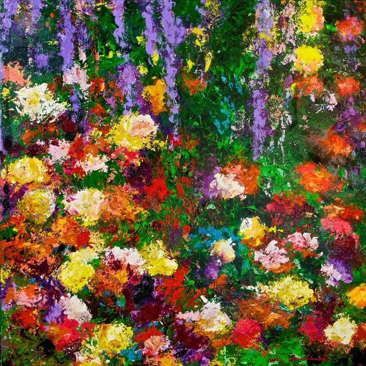 Wisteria and Roses - Allan Friedlander's  paintings