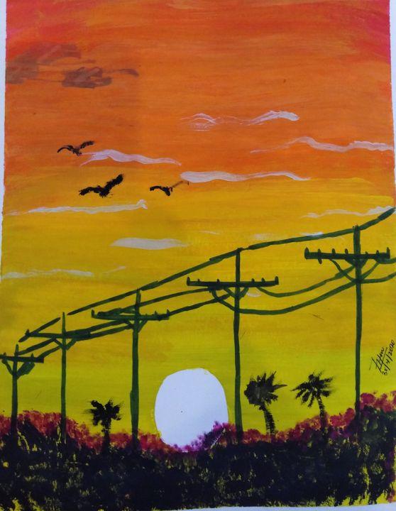Power lines at Sunset - Farhad Hussain