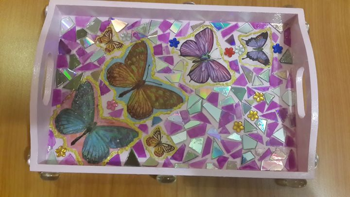 Pink Butterfly Tray - Upcycled Art & Crafts
