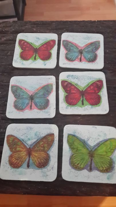 Butterfly coasters x 6 - Upcycled Art & Crafts