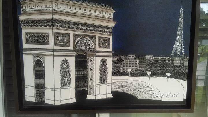 """Arc de Triomphe with Tower Eiffel"" - New Medium: Typewriter Art on Canvas"