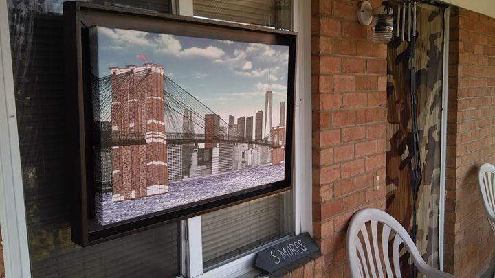 """Brooklyn Bridge with Freedom Tower"" - New Medium: Typewriter Art on Canvas"