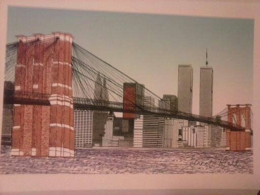 The Brooklyn Bridge with Twin Towers - New Medium: Typewriter Art on Canvas