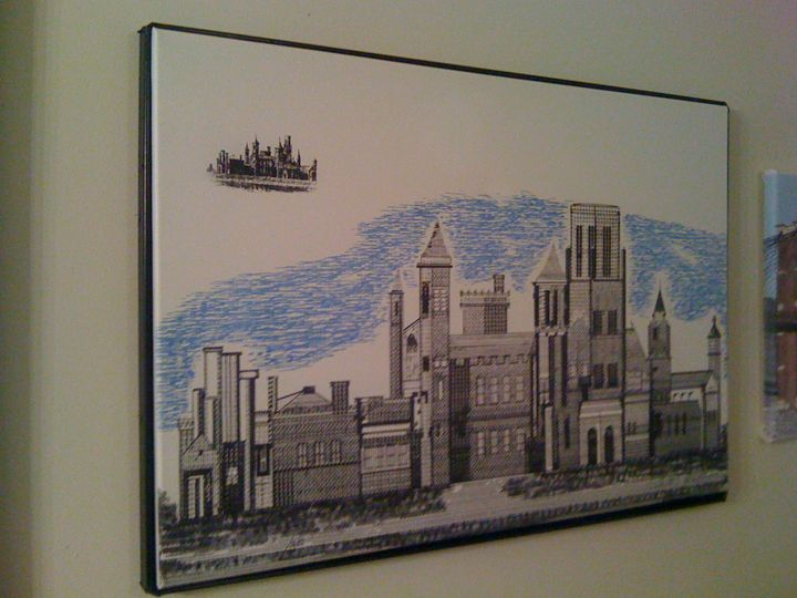 The Smithsonian Castle - New Medium: Typewriter Art on Canvas