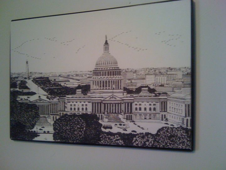 The US Capitol - New Medium: Typewriter Art on Canvas