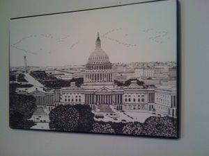 The US Capitol - New Medium: Typewriter Art on Canvas